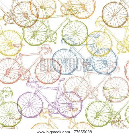 Vintage Bicycle Hand Drawn Seamless Pattern