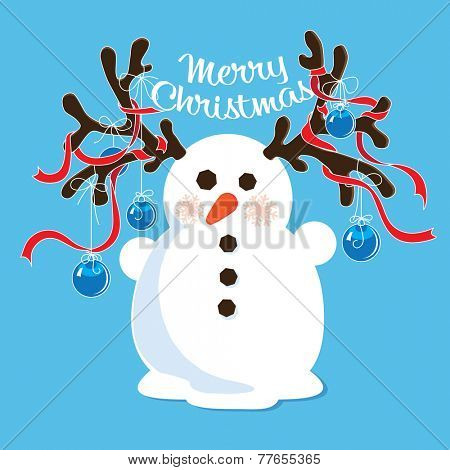 Cartoon horned snowman with decorated antlers.