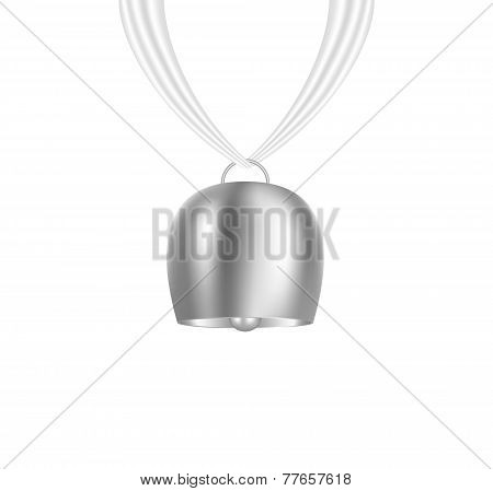 Bell hanging on white piece of cloth