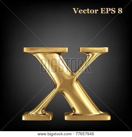 Golden shining metallic 3D symbol lowercase letter x, vector EPS8