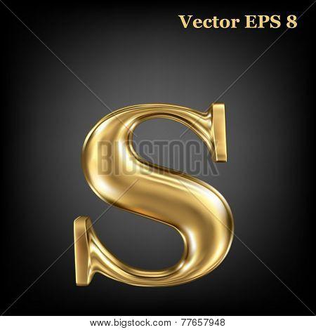 Golden shining metallic 3D symbol lowercase letter s, vector EPS8