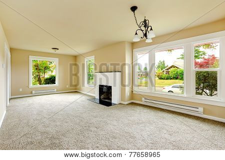 Empty Room With White Brick Background Fireplace