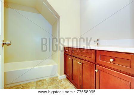 Empty Bathroom Interior With Bright Brown Vanity Cabine