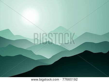 Morning Mountains And Sunrise Vector Background.