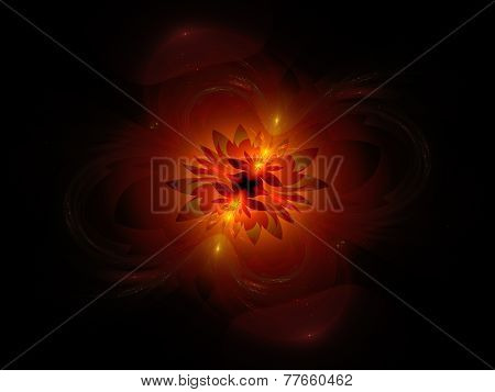 Glowing Fiery Flower In Space