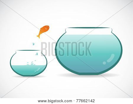 Vector Image Of An Fish Jumping Out Of Aquarium. Freedom Concept.