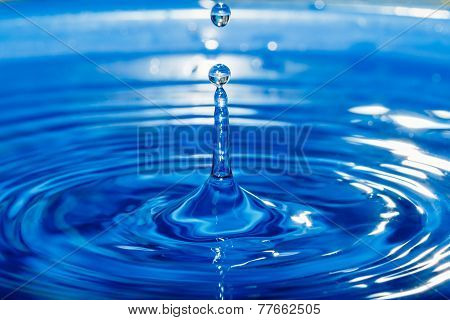Water Droplets   On The Surface Of The Blue