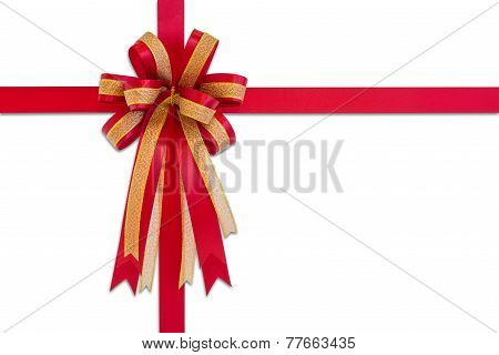 Red Gift Ribbon And Bow, Isolated On White Background.