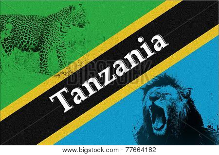 Flag Of Tanzania With Silhouette Of Lion And Leopard