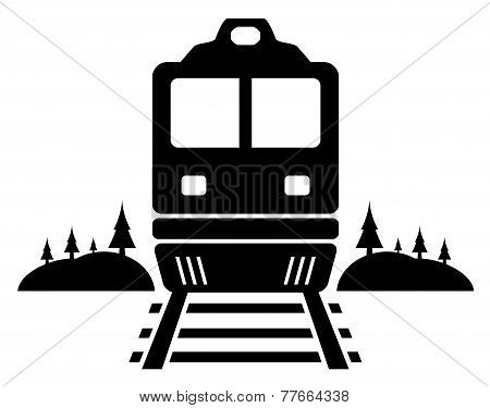 rail road icon with moving train