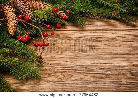 Decorated Christmas Fir Tree On A Wooden Board