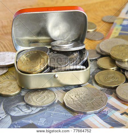 metal tin with Australian coins