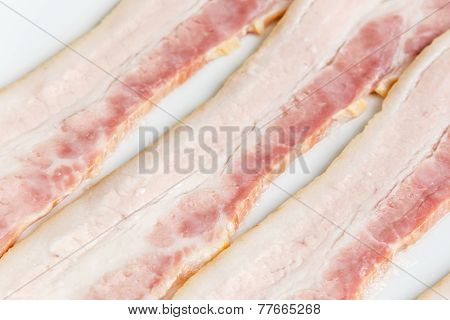 Raw Bacon Strips Slices