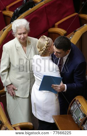KIEV, UKRAINE - November 27, 2014: Yulia Tymoshenko in Parliament of Ukraine