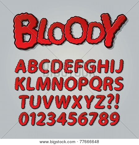 Bloody Comic Pop Art Alphabet And Numbers, Editable Eps10 Vector