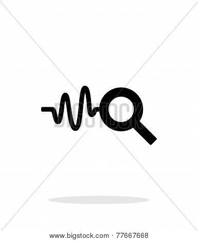 Cardiogram monitoring icon on white background.