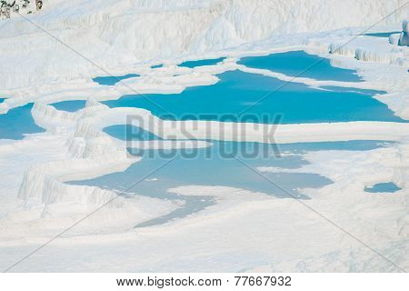 Basins Of Pamukkale Unusual Natural Feature In Turkey