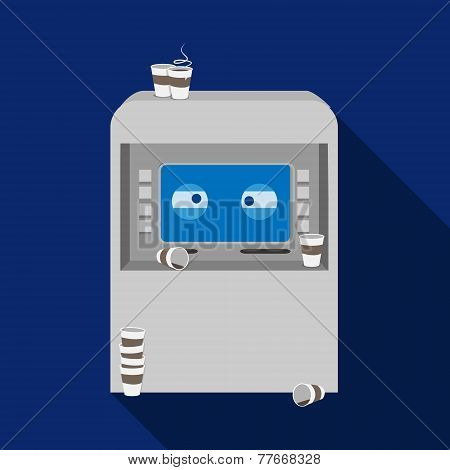 Vector flat funny tired ATM with coffee cups illustration