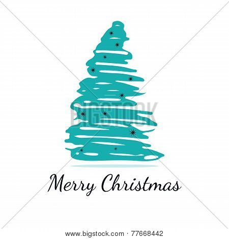 Isolated abstract blue christmas tree on white background with snowflakes.
