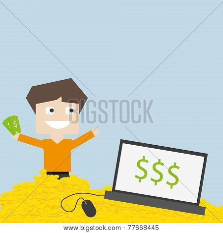 Vector flat illustration on e-commerce and financial theme