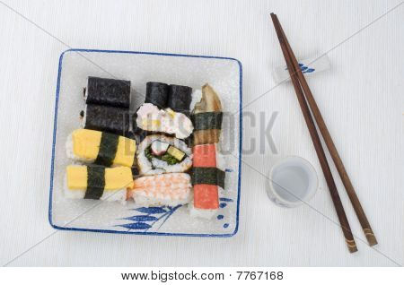 Varieties Of Sushi Set On A Plate