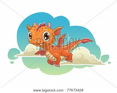 Cute orange cartoon dragon