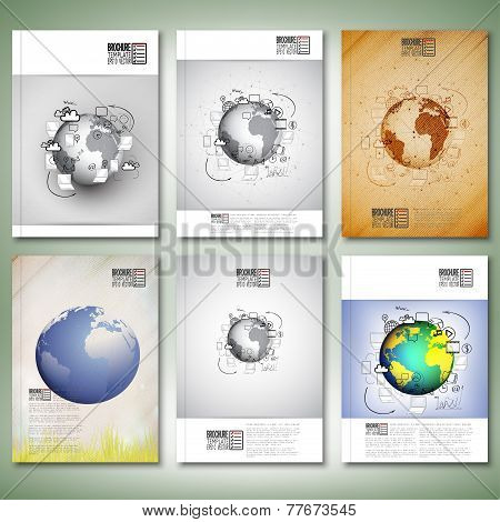 World globe with different Doodles. Brochure, flyer or report for business, template vector