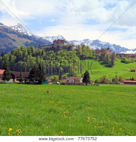Gruyere Castle And Alps, Switzerland