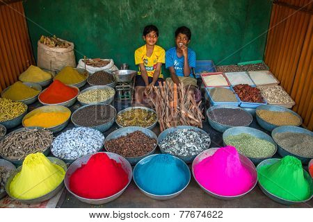 GOKARNA, KARNATAKA, INDIA - JANUARY 19, 2013: Unidentified boys sell dye powder and spices on the street market on January 19, 2013 in Gokarna, Karnataka, India.