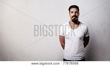 Bearded Handsome Guy In Blank T-shirt