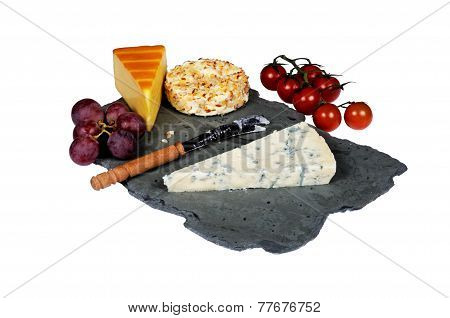 Cheese selection on Welsh slate.