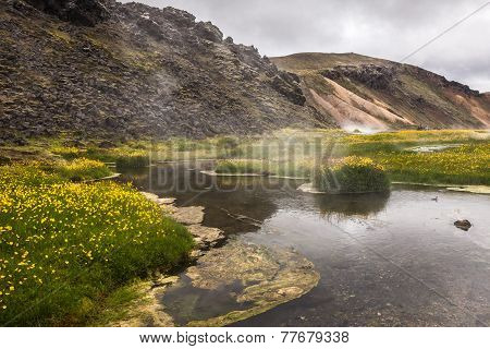 Hot Creek In The Valley Landmannalaugar, Iceland