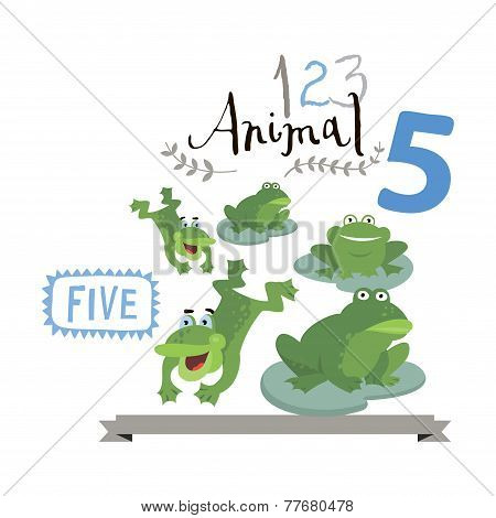 Children alphabet of animals and figures. Number five. Vector illustration.