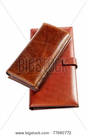 Two Leather Purses Isolated On A White Background