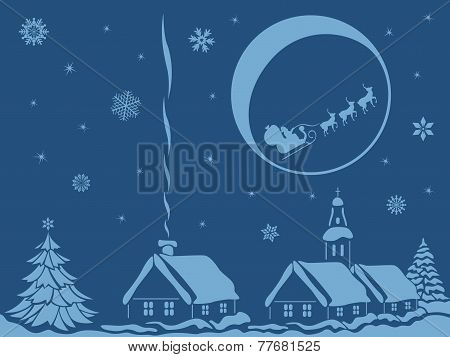 Village In Christmas Night