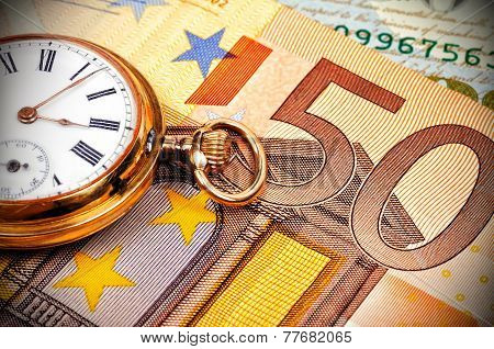 Watch And Euro Bills