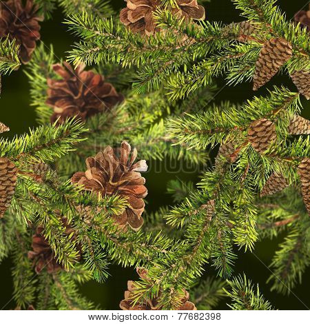 Christmas Watercolor Seamless Background with Sprig of Fir Trees and Pine cones