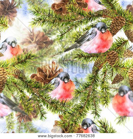Christmas Watercolor Seamless Background with Sprig of Fir Trees and bullfinch