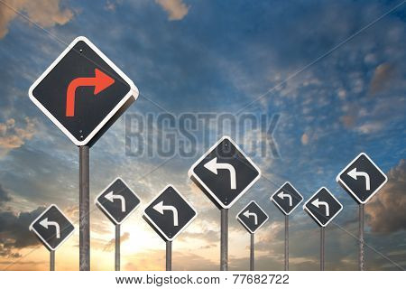 Alternative Way Concept By Traffic Sign
