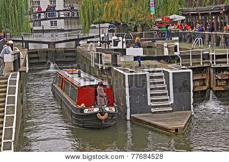 London. Camden Town. Water Bus Ride On Regent's Canal