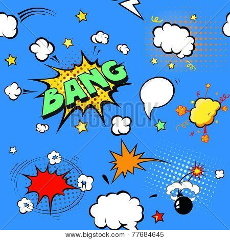 Seamless pattern background with  comic book speech bubbles  illustration