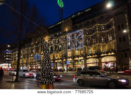 Christmas At Hamngatan In The Center Of Stockholm