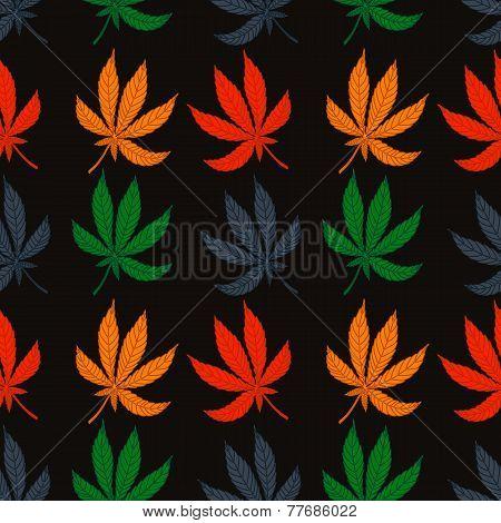 Seamless pattern of leaf marijuana different colors.
