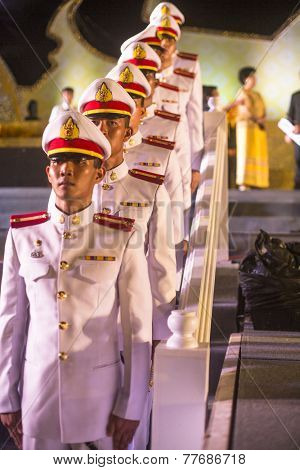 BANGKOK, THAILAND - DEC 5, 2014: Unidentified participants in the celebration of the 87th birthday of Thailand King Bhumibol Adulyadej, is also known as Rama IX, ninth monarch of the Chakri Dynasty.