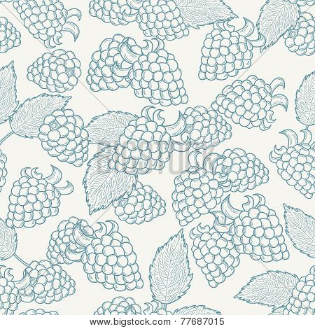 Doodle Outline Blackberries Seamless Pattern