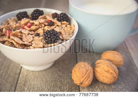 Milk And Muesli With Berries