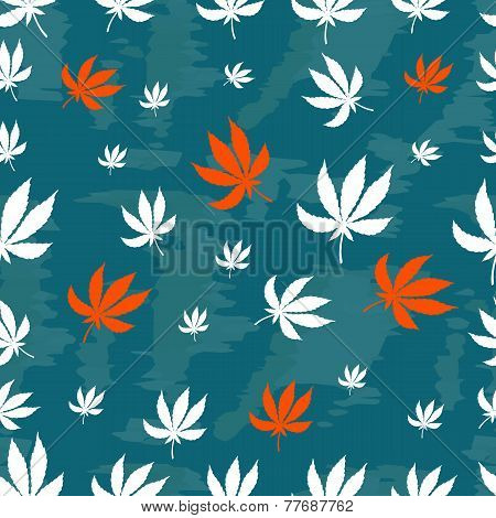 Seamless repeating pattern of white and orange leaves of marijuana