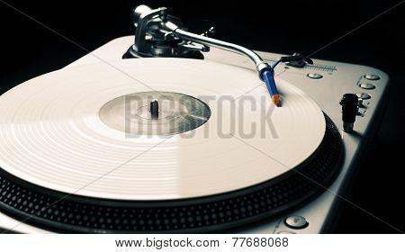 Vintage Turntable Playing Music