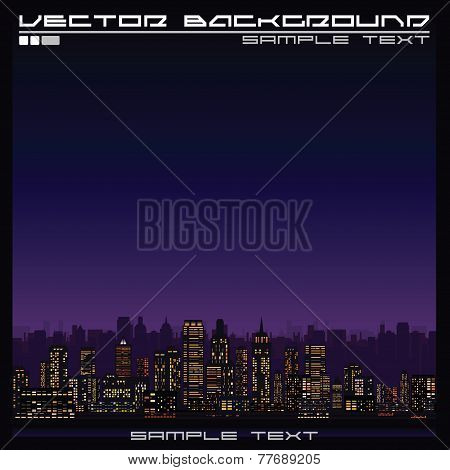 Abstract Illustration of a Skyline at Night.