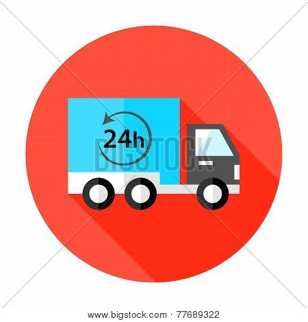 Truck 24 Hour Shipping Flat Circle Icon